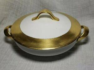 Antique-Selb-Bavaria-Porcelain-Covered-Serving-Dish-Bowl-White-amp-Gold-Gilded