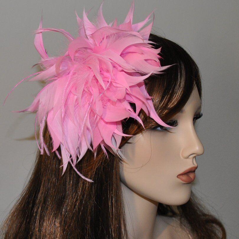 XXL Feathers Pink Flower Fascinator Wedding Pin Flower Brooch Hair NEW