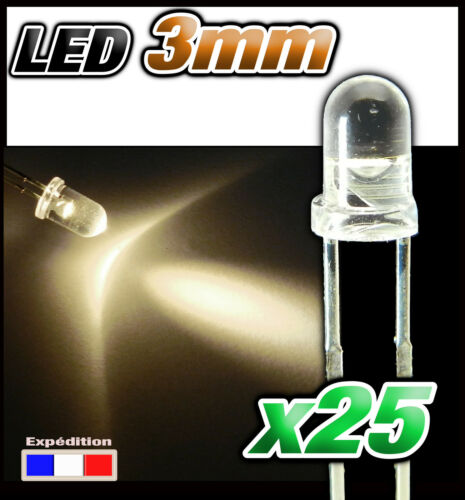 209# LED Blanc chaud 3mm 25pcs ultra lumineuse R