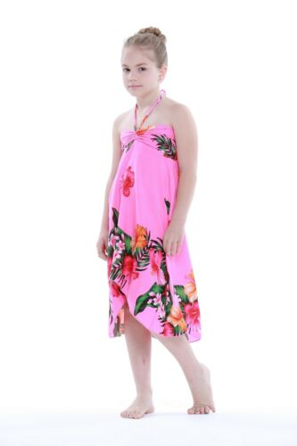 Aloha Butterfly Dress Girl Summer Beach Hawaiian Cruise Luau Floral Pink