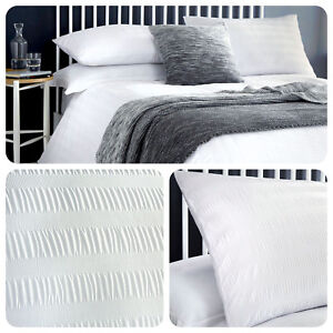 Serene-SEERSUCKER-White-Easy-Care-Duvet-Cover-Bedding-Set