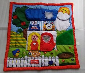 Vtg-1990-Fisher-Price-Baby-Activity-Play-Mat-Little-People-Puffalump-Blanket