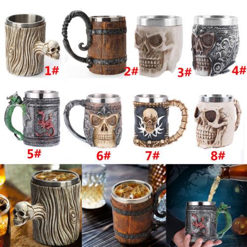 Kreativ Totenkopf Crude Holz Becher Harz Kaffee Bier Pub bar Zuhause Party Dekor