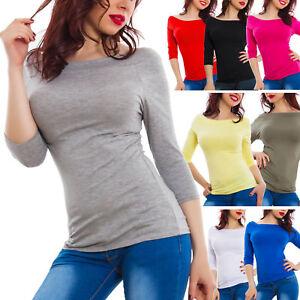 siempre popular buscar el más nuevo precio limitado Detalles de Blusa mujer camiseta cuello Bardot gitana manga 3/4 básico sexy  GI-1604