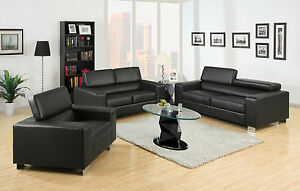 Black Bonded Leather Chrome Legs Foldable Headrests 2 Pc Sofa Loveseat  Set