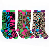 Little Missmatched Animal Print Knee High Socks, Zebra, Cheetah