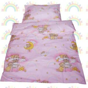 Baby Bedding Set Crib Cot Bears Pink Duvet Bumper Moses Basket Sheet