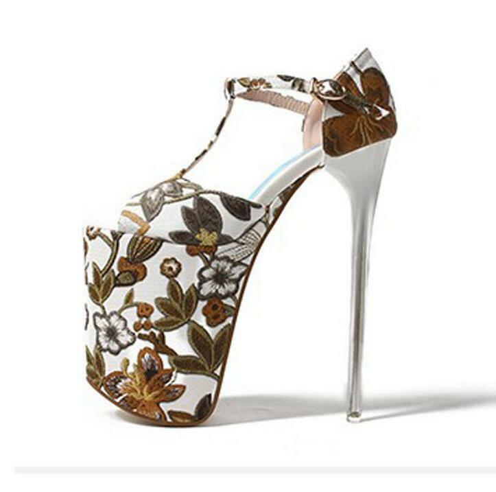 donna Embroidery 20cm Super High Heel Platform Sandals T-Strap Nightclub scarpe