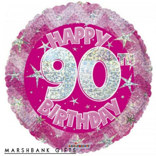 Holographic Pink 90th birthday foil balloon 18 inch