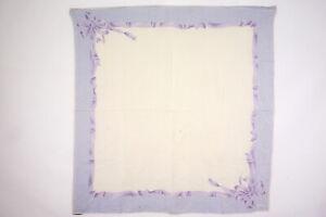 CHANEL 88cm Large format Scarf 100% Silk Ribbon Stall Shawl Cream Blue 3542k