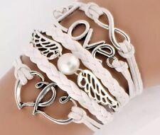 Armband Kunst-Lederarmband mit Herz Perle Love Liebe unendlich weiß silber