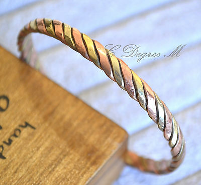 Hand Crafted Copper 3 Colors Twisted Slim Open Bangle Bracelet Arthritis a