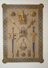 GRANDE LITHO KREUTZBERGER DÉCORATION ÉPÉE DIEU RELIGION CHEVALIER 1870