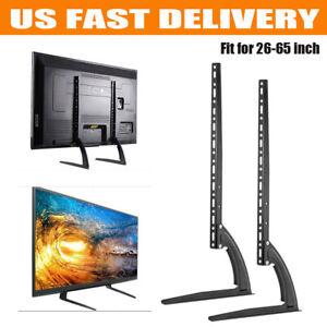 2X-Universal-Tabletop-TV-Stand-Pedestal-Mounts-Monitor-Riser-LCD-LED-Flat-Screen