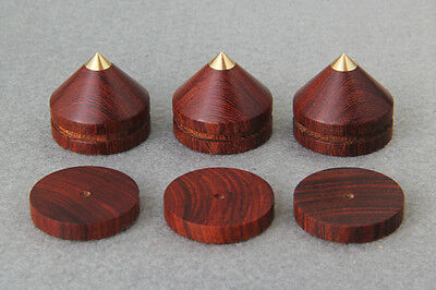 4sets 23mm RoseWood Feet Spike W Brass Base Speaker Amp Radio Cabinet CD Player