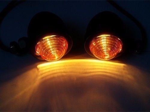 Smoke Turn Signal Light W// Fork Clamps For Harley Honda Kawasaki Suzuki Yamaha