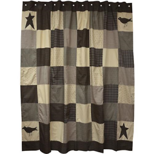 Image Is Loading Primitive Country SHOWER CURTAIN KETTLE GROVE Black Stars