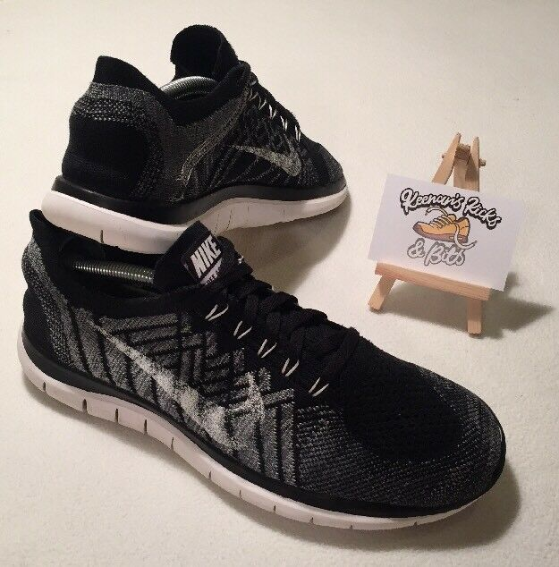 Special limited time Mens Nike Free 4.0 Flyknit BLACK/WHITE Running Trainers 'GYM UNISEX RARE'