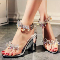 Fashion Women Beads Mid Heel Crystal Shoes Wedding Rhinestones Summer Sandals SZ