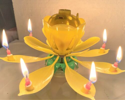 3-Pack Birthday Celebrations Lotus Flower Birthday CandleMusical Candle