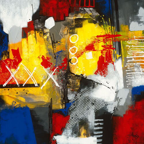 Jadis   Laché-prise Abstrait Tableau Prêt 70x70 Mural Moderne MultiCouleure Pop