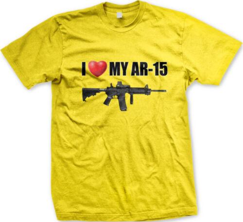 I /<3 My AR-15 Love Heart Assault Rifle Gun Bear Arms Defense Right Men/'s T-Shirt