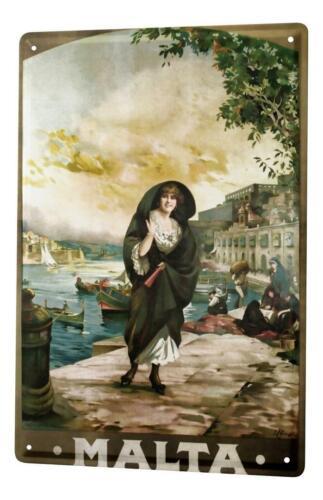 Tin Sign Travel Kitchen Malta nostalgia woman Boats