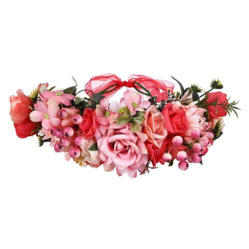 Boho Festival Wedding Hairband Bridal Rose Flower Headband Crown Hair Wreath
