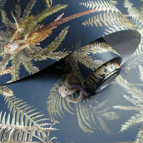 Amazonia Singe Métallique Palmiers Jungle Tropicale Papier peint bleu marine WOW038