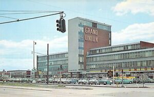NJ-East-Paterson-ELMWOOD-SHOPPING-CTR-Grand-Union-Vintage-Autos-postcard-B10