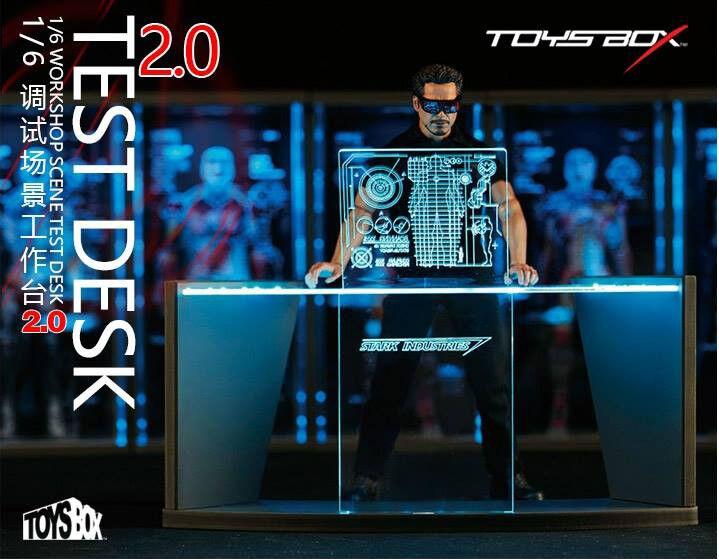 1 6 Juguetes Caja TB038 marvle Iron Man Tony Estrellak taller escena Escritorio LED 2.0
