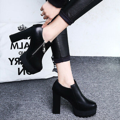 Womens Punk Heels casual Platform Leather Boots Loafer Chunky Oxfords Shoes HF20