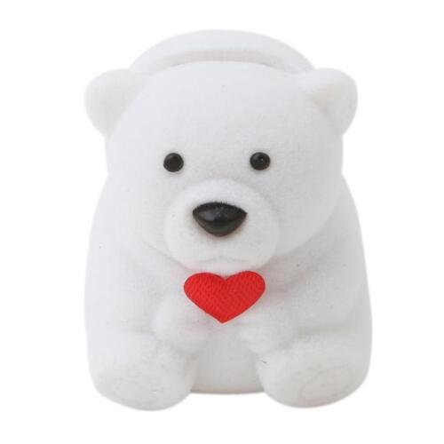 Cute Small Bear Ring Earring Jewelry Gift Storage Box Case Holder Organizer C
