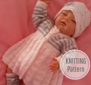 062a02b44 dK knitting pattern to knit baby girls matinee cardigan hat booties ...