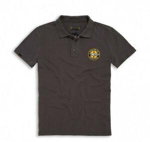 DUCATI-Scrambler-JOYRIDE-kurzarm-Polo-T-Shirt-Retro-grau-NEU