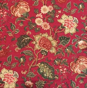 RICHLOOM-Upholstery-Fabric-Red-Green-Tan-Floral-53-5W-4-Yds-Piece