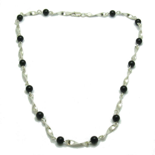 Sterling silver necklace solid 925 with 6mm black onyx N000278 Empress