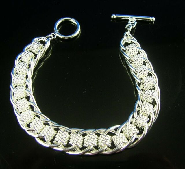 Nice 1pc  925 sterling Silver Men's TO link chain bracelet