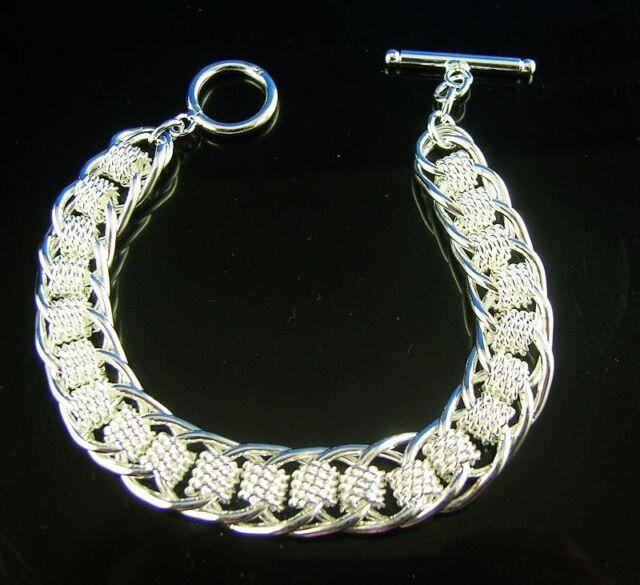 Nice 1pc  925 sterling Silver Men's TO link chain bracelet