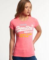New Womens Superdry Shirt Shop Tri Tee Bubblegum Pink Snowy