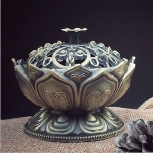 Chinese Lotus Cone Incense Burner Holder Flower Statue Censer Home Office Decor 8771419206773