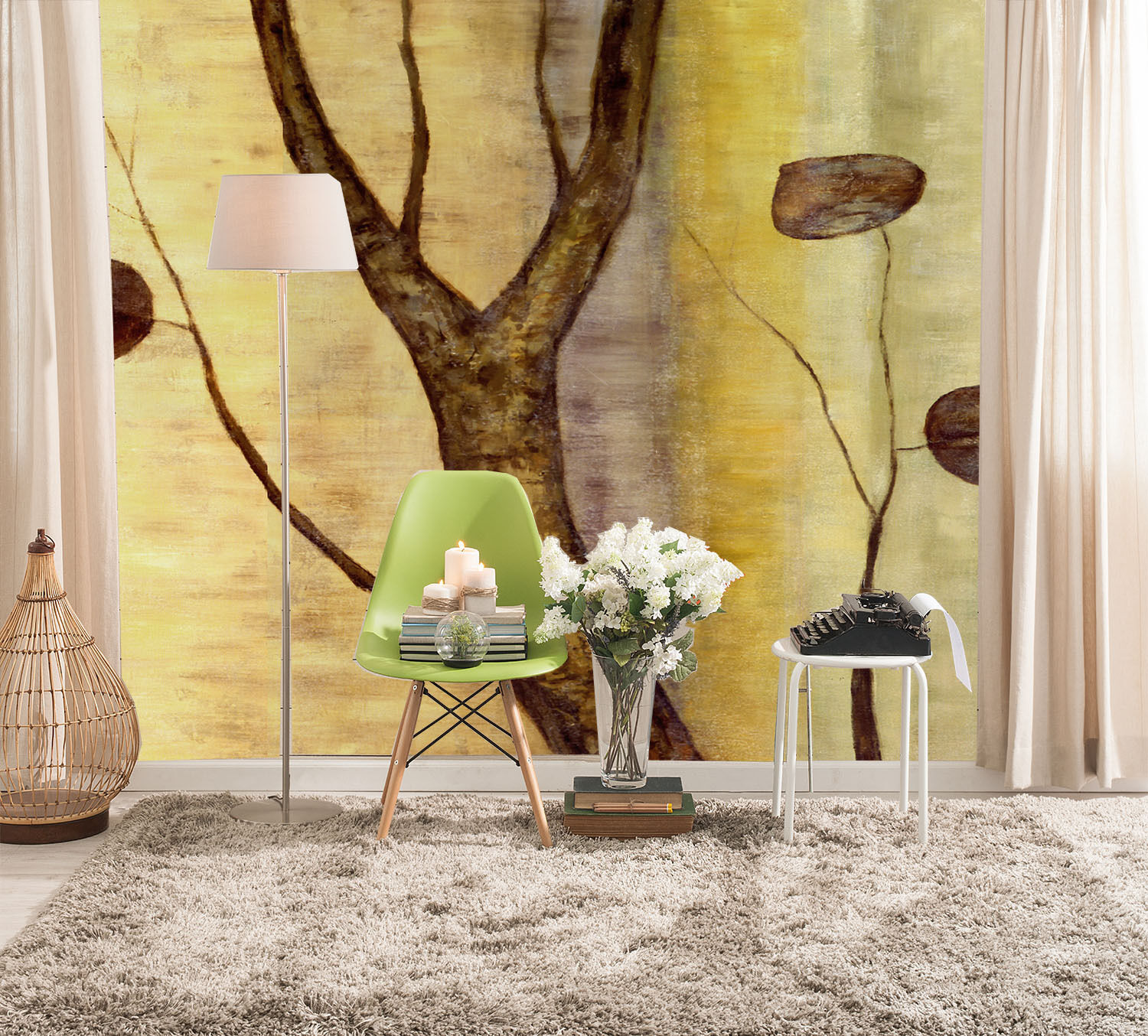 3D Tree Trunk Leaves 7 Wall Paper Wall Print Decal Wall Deco Wall Indoor Murals