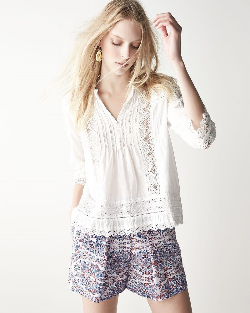 NWT  250 Rebecca Taylor Silk Paisley Print Shorts, Purple, Size 0