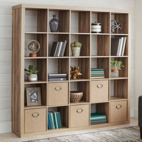 Cube Bookcase Shelves Organizer 25 Room Divider Weathered Wood Display Storage