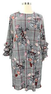 ALFANI-16W-black-glen-plaid-floral-contrast-lined-stretch-knit-dress-w-ruffles