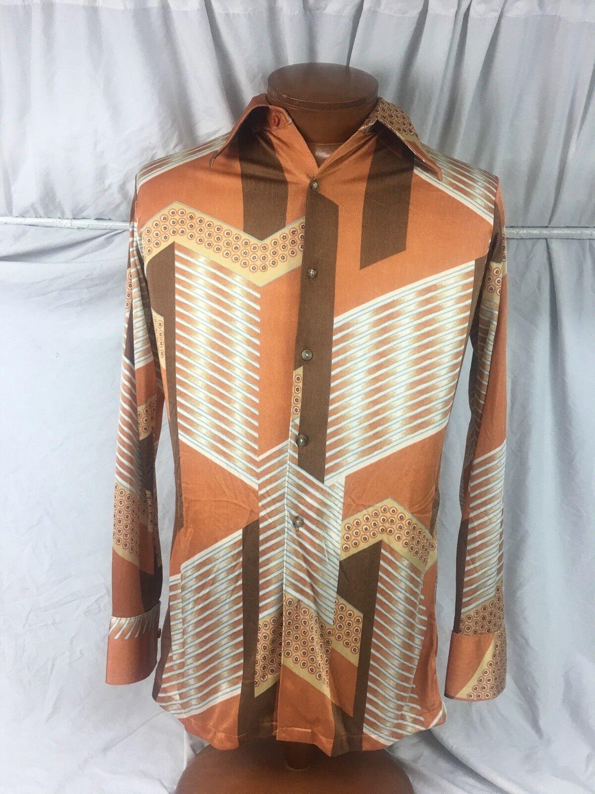 Huk-a-Poo  Vintage Abstract Disco Mod Shirt Medium