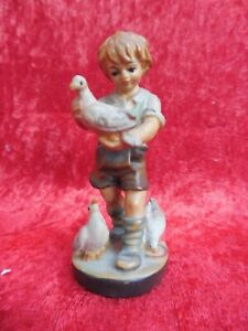 Beautiful-Small-Wooden-Figure-Boy-With-Doves-Carved-And-Painted