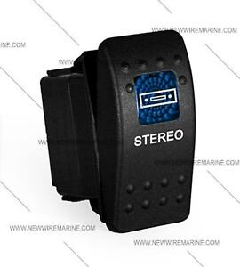 Labeled Marine Contura II Rocker Switch Carling, lighted - Stereo-Blue lens
