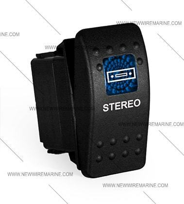 Labeled Marine Contura II Rocker Switch Carling lighted Stereo-Blue lens