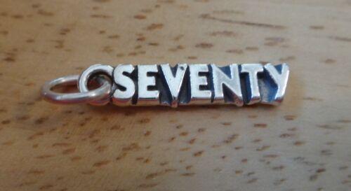 Sterling Silver 22x5mm nombre de soixante-dix 70 70th Anniversaire Breloque A Tiny Pit sur V